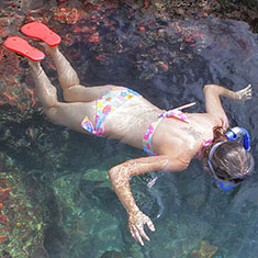 hot girl snorkeling in bikini