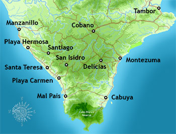 Map of the Southern Nicoya Peninsula Towns