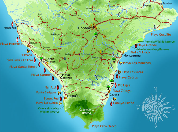Map of all the beaches in Malpais, Santa Teresa, Montezuma, and Cabuya