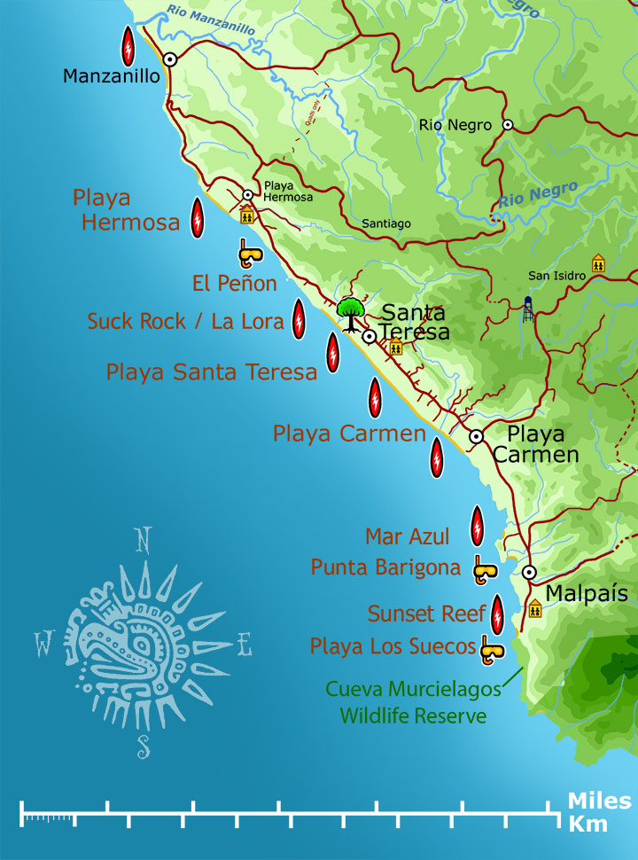 Santa Teresa and Malpais Surf Map - Santa Teresa and Malpais